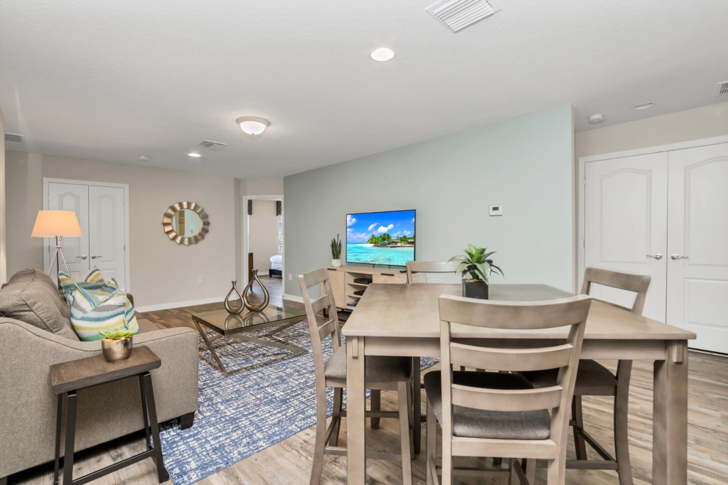 Comfortable seating area with flat screen TV