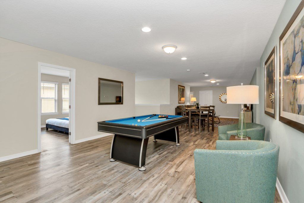 View 3 of game room pool table and board games