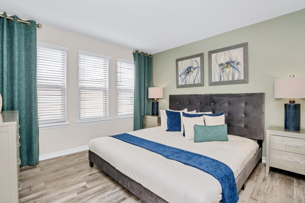 Outstanding king bed with flat screen TV