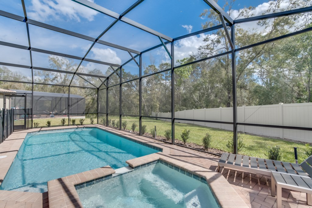 View 3 of luxurious pool and spa with pool screen