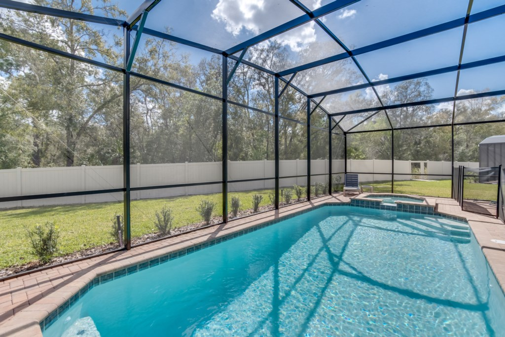 View 5 of luxurious pool and spa with pool screen