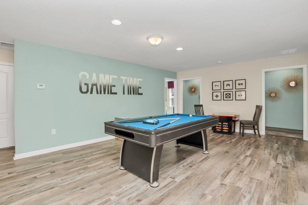Game room pool table and board games