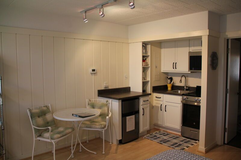 Kitchen with two-person dining