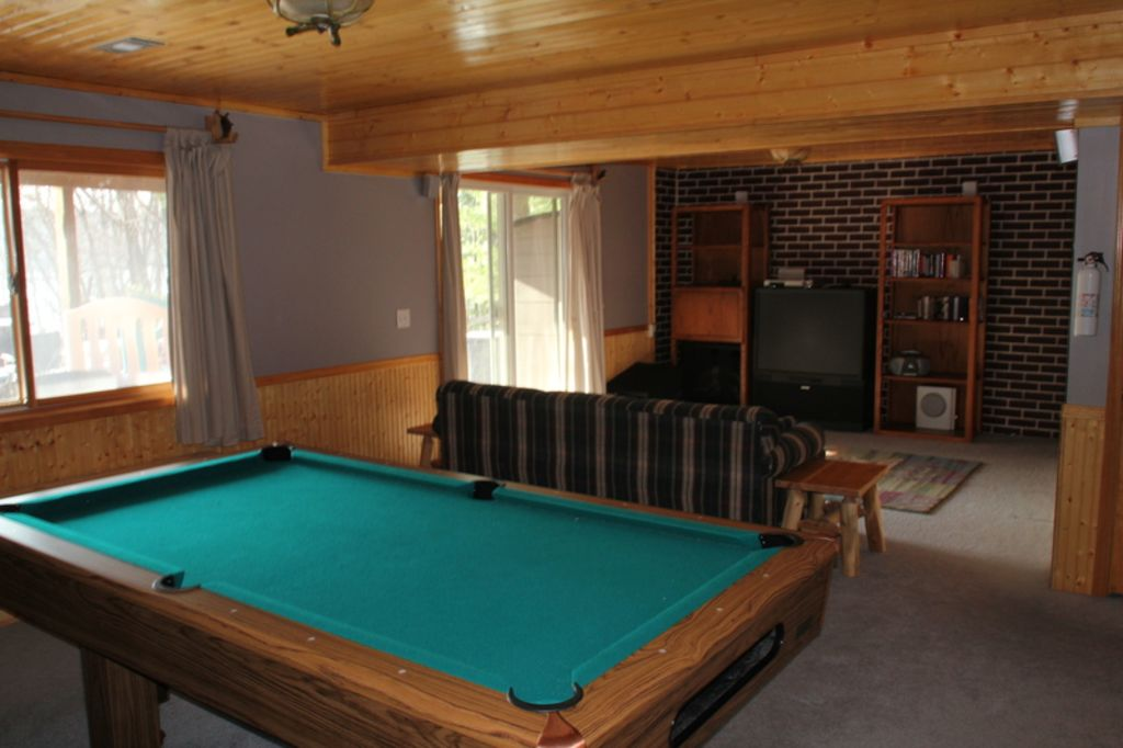Lower level, pool table and entertainment area