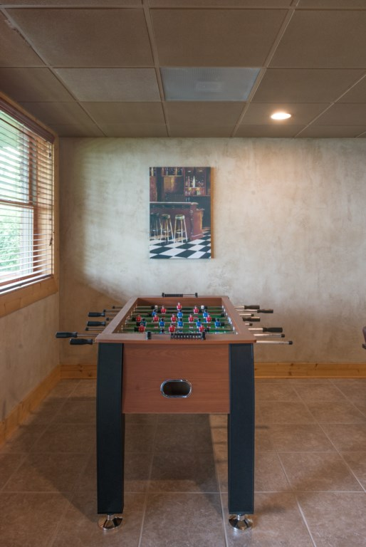 Foosball table in the basement.