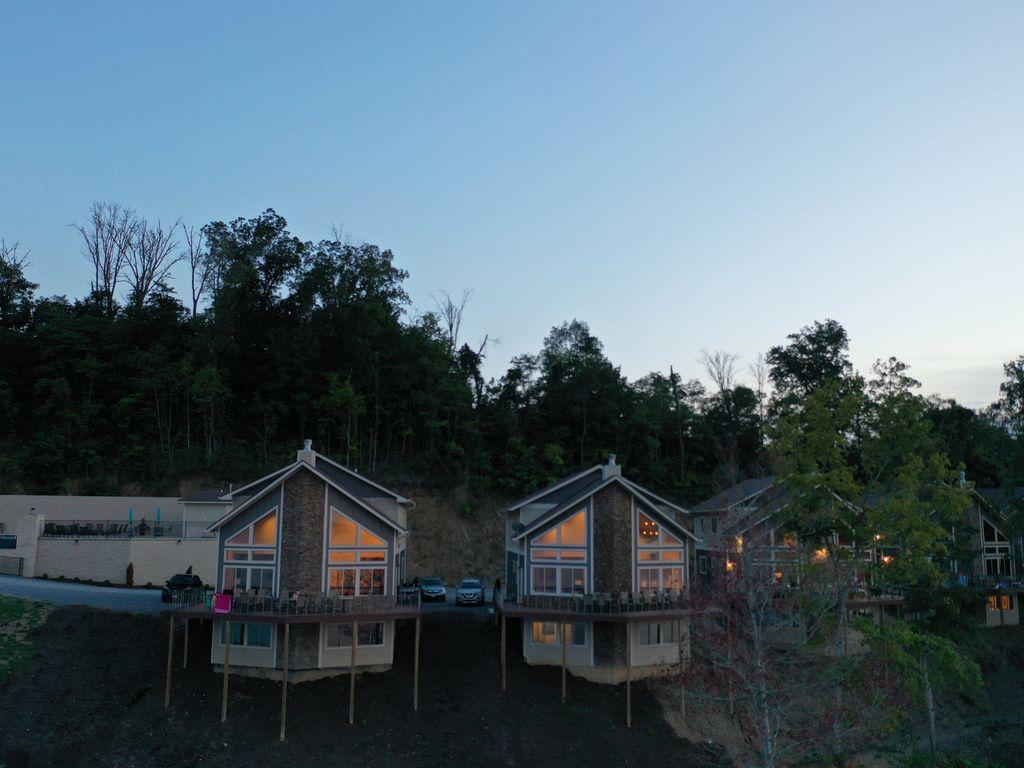 Sunset shot of the beautiful luxurious villas