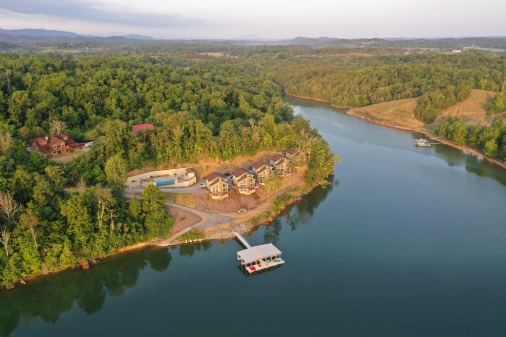 Overhead view of property from the lake.