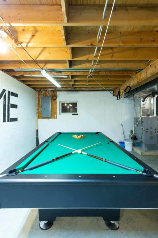 Slate Pool table for hours of entertainment.