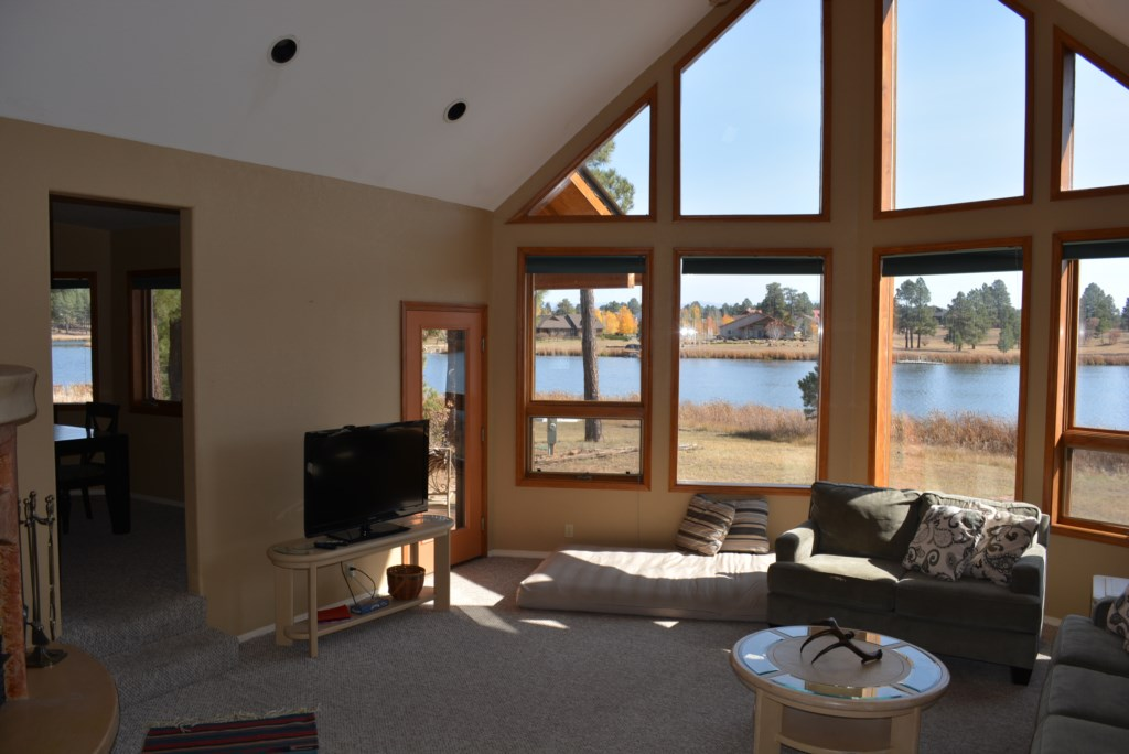 Large Windows with View of Forest Lake