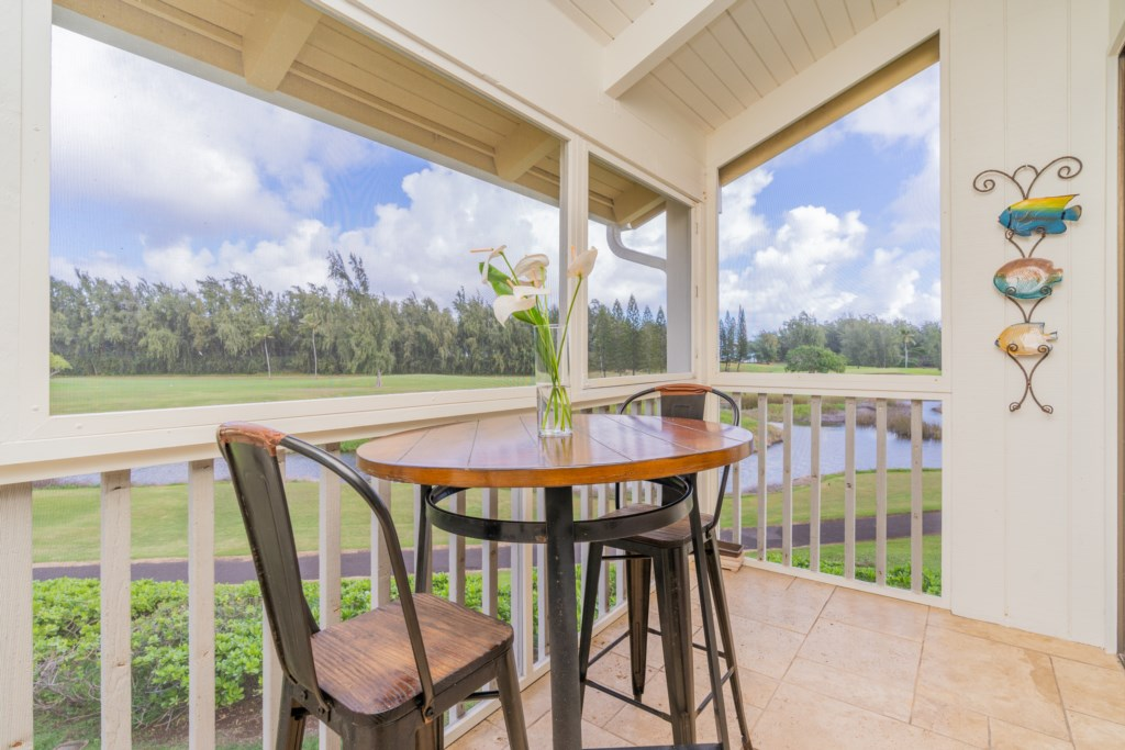 Screened in Patio with Golf/Ocean Views