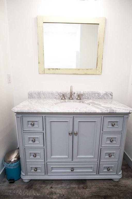 Charming bathroom vanity.