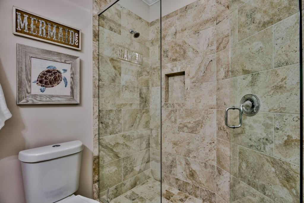 Beautifully tiled Queen Bathroom