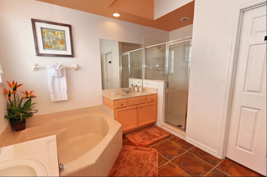 Master ensuite with corner bathtub, large walk-in shower and twin sinks