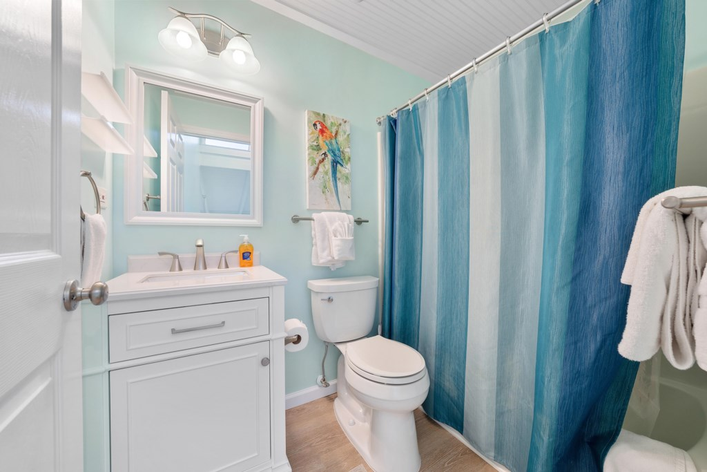 Guest bathroom upstairs with bathtub