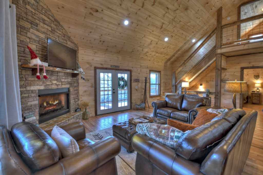 Cozy Sitting Room with log fireplace