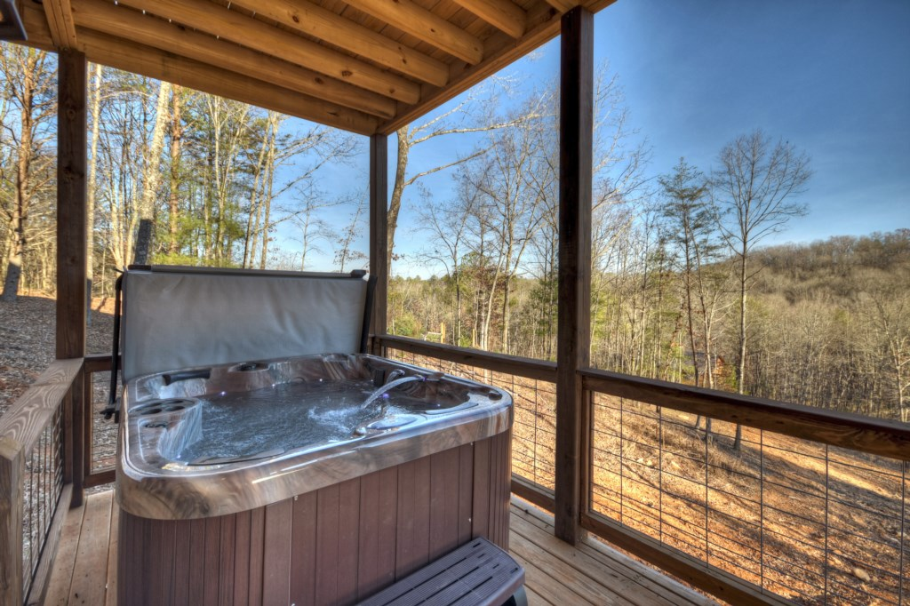 Let the aches of the day disperse as you relax in the hot tub