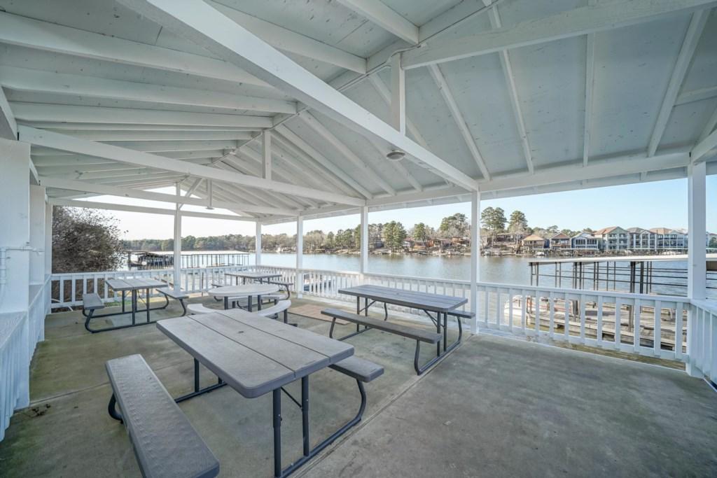 Shared lakefront pavilion.