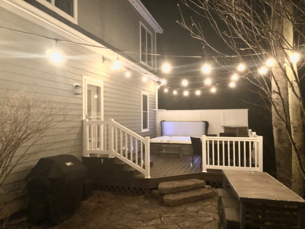 Well lit backyard
