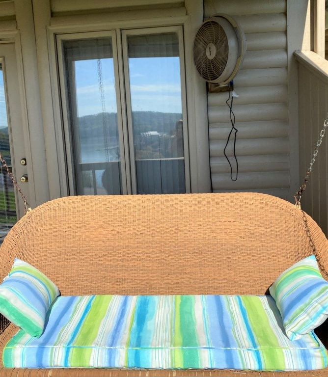 Swing seat on back porch