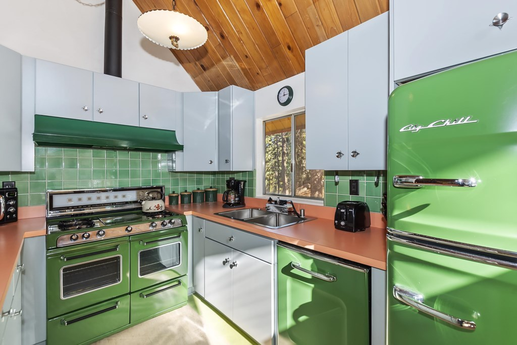 Kitchen Recently remodeled with new retro cabinets, counter and appliances