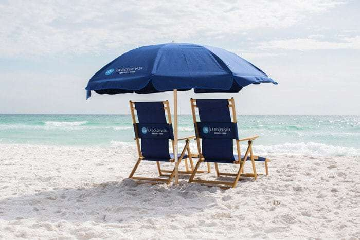 Complimentary Beach chair and umbrella setup from March-Oct