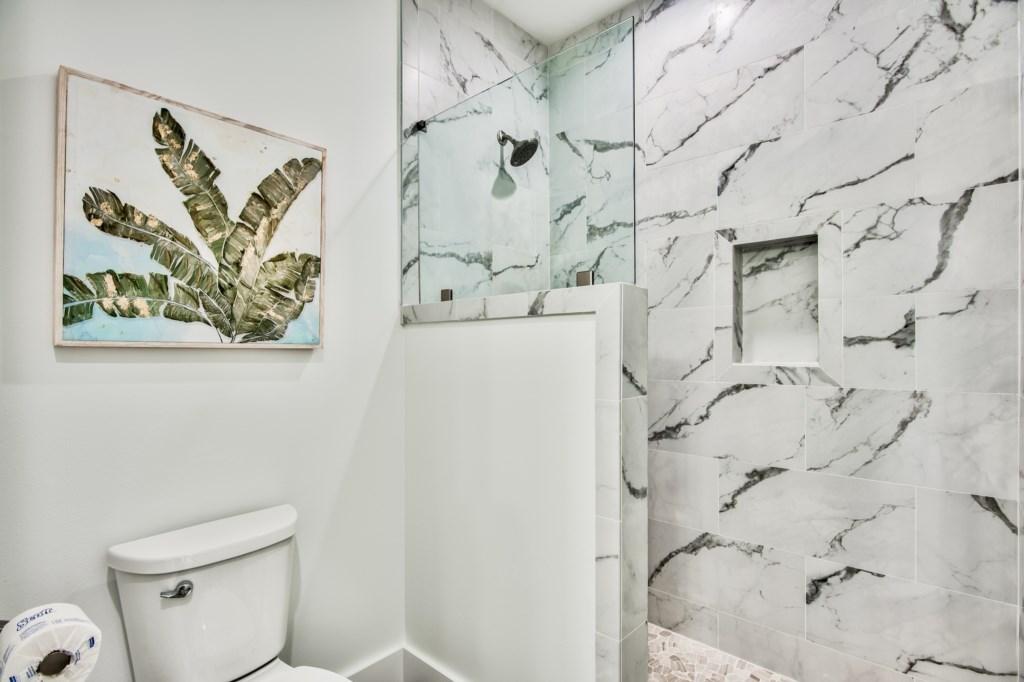 Fully tiled walk-in shower