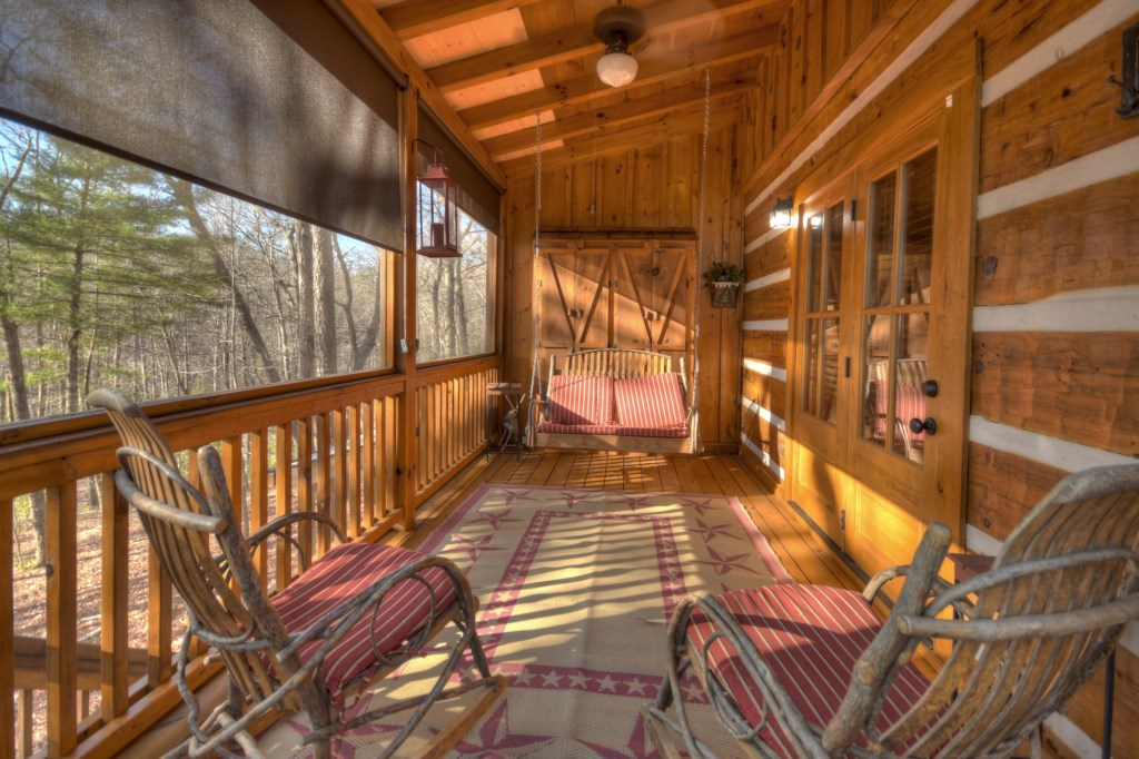 Enjoy the peace and quiet of Mountain Living from your screened in porch