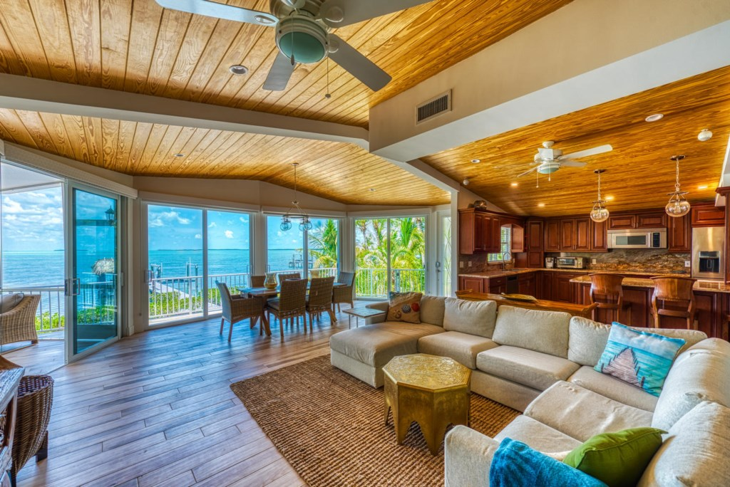 Lime-Key-Living-Area-and-Kitchen-Amazing-View-Florida-Keys-Luxury-Rentals
