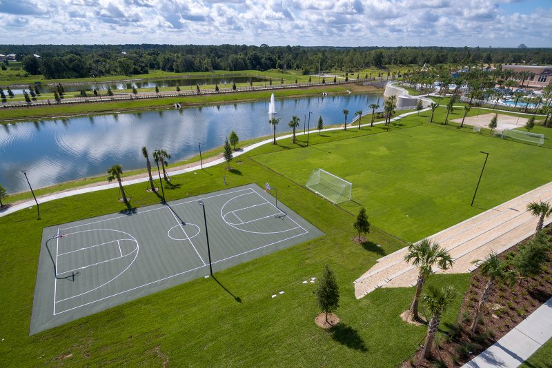 Soccer, sand volleyball, basketball courts with stadium seating