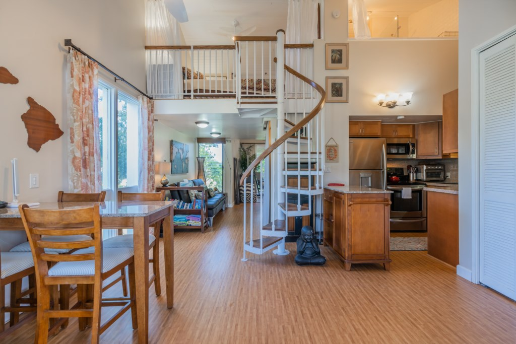 Kitchen/Dining Space w/View of 1 Bedroom Loft Above