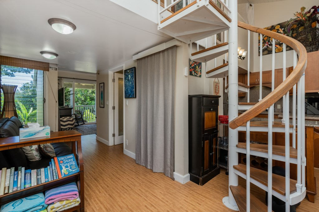 Hallway to Main Floor Bathroom and Living Space