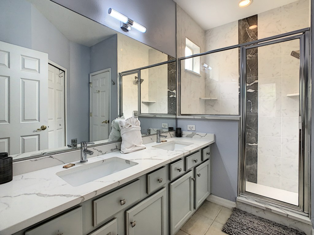 Master Bath with Double Sinks and large Wal-In Shower
