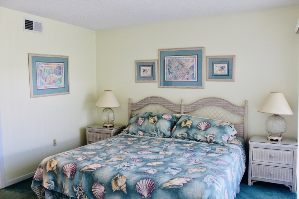 Bedroom has a king size bed with a full bath attached. There is also a tv in the room.