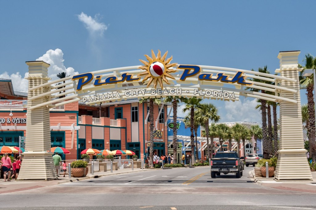 Pier Park is a short  drive down the road.