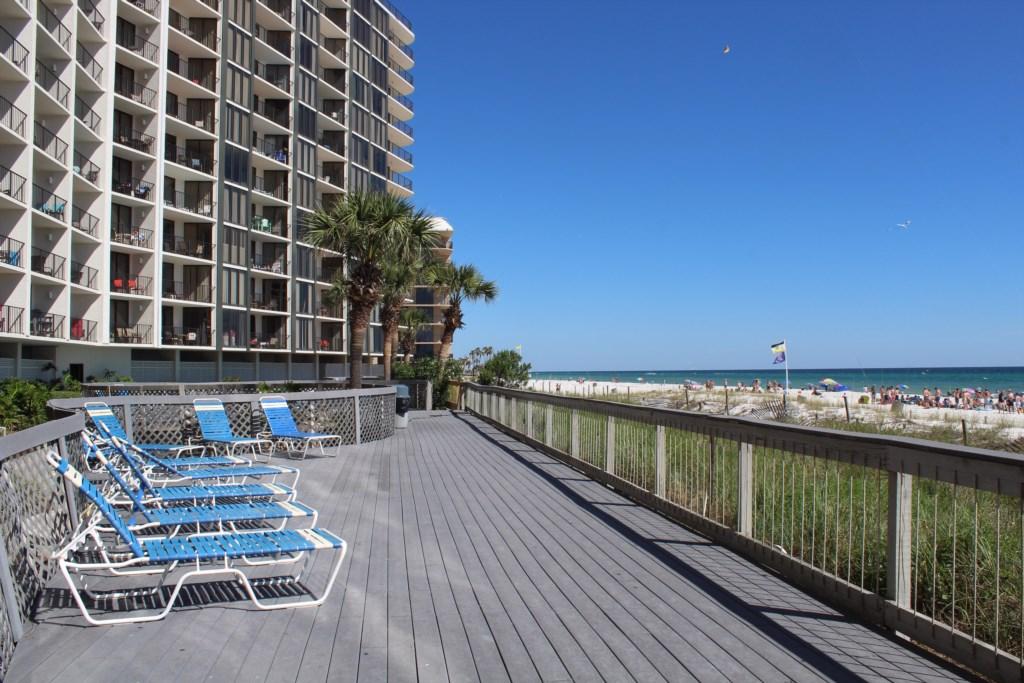 Sun deck located on the beachside.