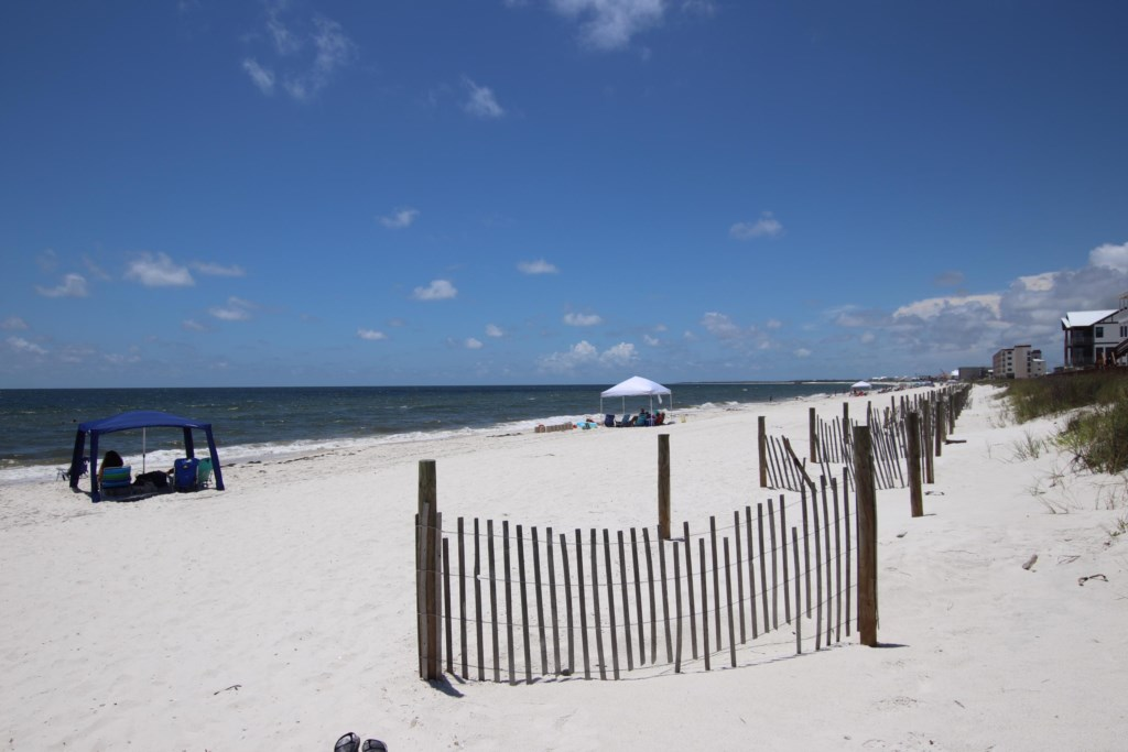 Beautiful beaches of Mexico Beach are yards away