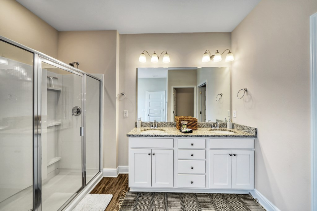 Attached bath with soaking tub and walk-in shower