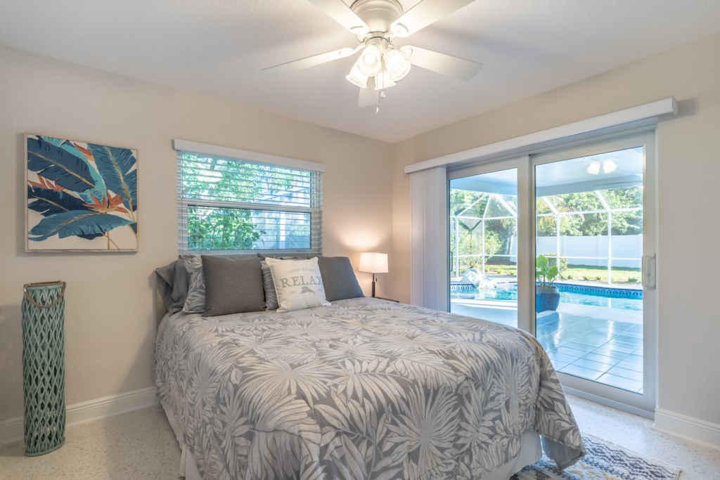 2nd bedroom with pool views