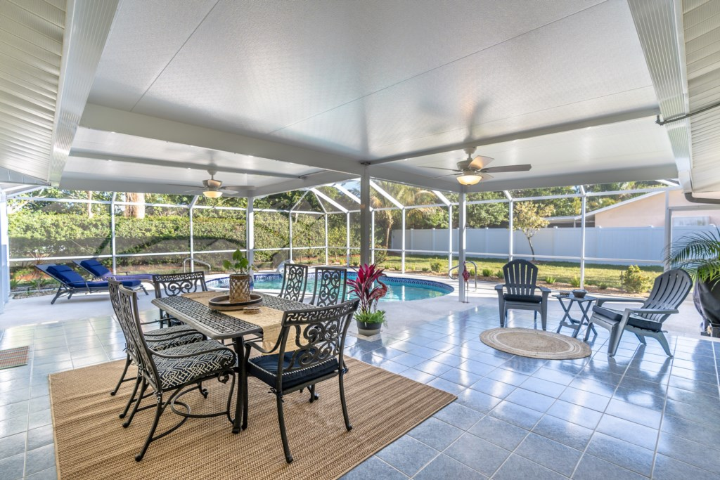 Spacious lanai and yard with privacy