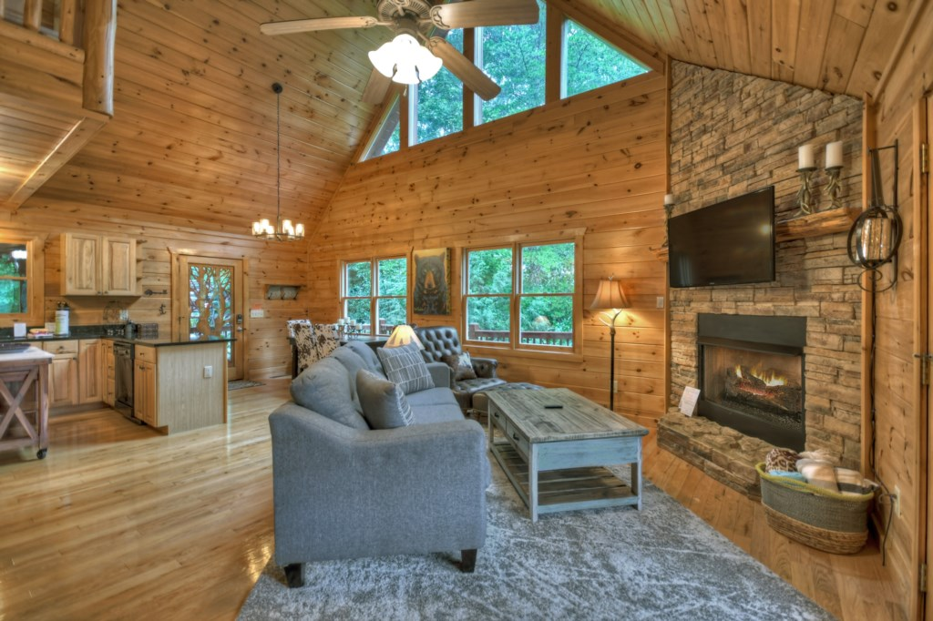 High vaulted ceilings and large windows make this a cozy cabin