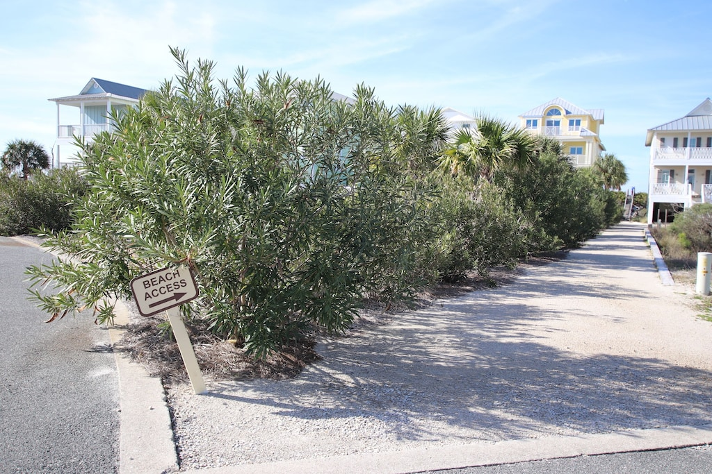 The beach access is private to the community; approximately 800 yards from the property.