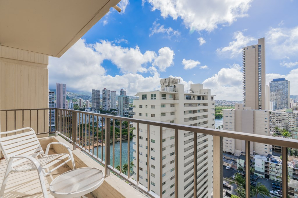View of Ala Wai Canal and City from Balcony