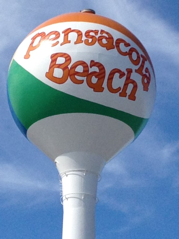 Famous beach ball water tower