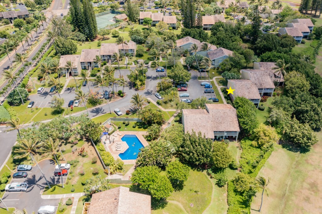 Aerial Shot of Kuilima Estates East - Unit Depicted with a Yellow Star