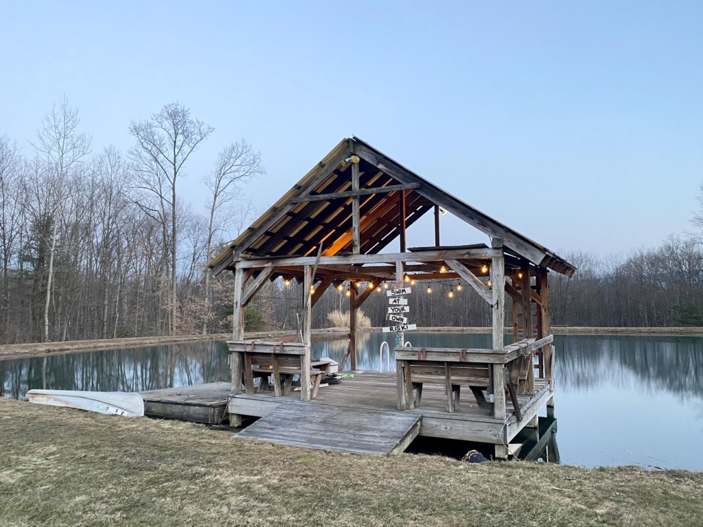 A small dock followed by a few of the pond, Perfect for relaxing by the water at any time of day.