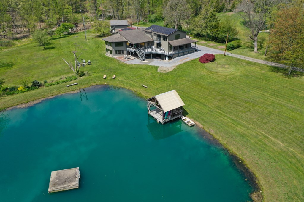 A stunning aerial view of the property.