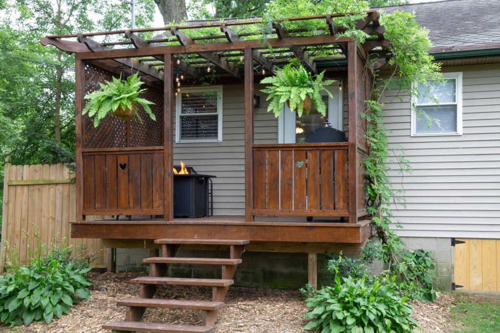 A lovely back patio fitting for the environment.