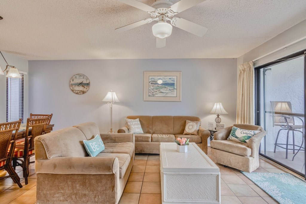 Living Room offers plenty of seating and a QUEEN SOFA SLEEPER for extra sleeping space.