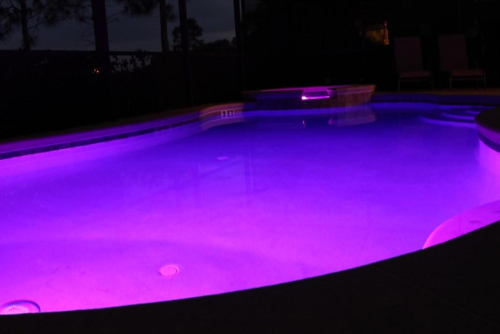 Nighttime South Facing Pool & Spa
