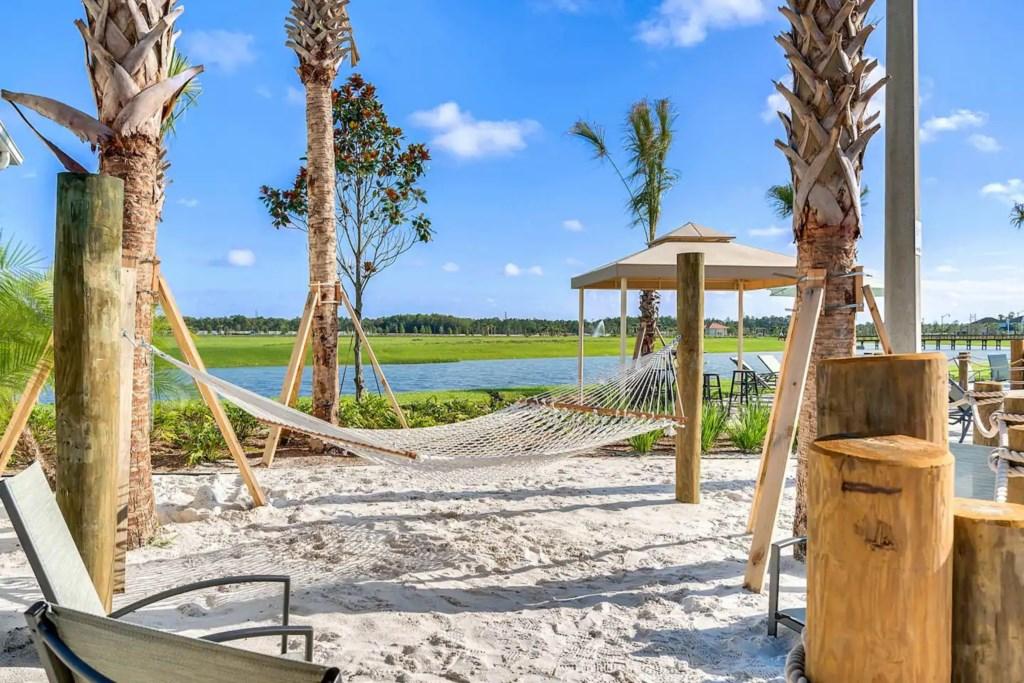 Hammock at 'beach' area in-resort